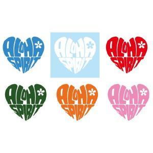 メール便可/ハワイアンステッカー/レイマイカイオリジナル/全6色  Aloha Spirit ハート型 leimaikai-hawaii