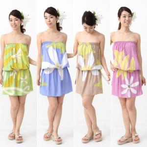 【58%OFF】プルメリアサン/ショートチューブドレス・フリーサイズ/Made in Hawaii レーヨン100% タヒチアンティアレ leimaikai-hawaii