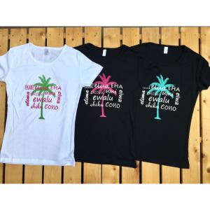 パームツリー(ヤシの木)&ハワイ語/半袖Tシャツ M・L・XL/フラ・ストレッチ・フラダンス・ハワイアン・レディース・レイ・レッスン |leimaikai-hawaii