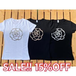 カメリア/半袖Tシャツ M・L・XL/フラ・ストレッチ・フラダンス・ハワイアン・レディース・レイ・レッスン  leimaikai-hawaii