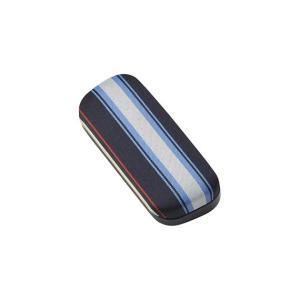 メガネケース ストライプ メタルハード ブルー 2447-01|lensgallerys