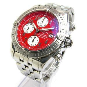ブライトリング A13356 クロノマット エボリューション レッド 赤文字盤 メンズ 時計 保証書 BOX 付属 クリーニング済 ウィンドライダー 自動巻き オート|leonshop