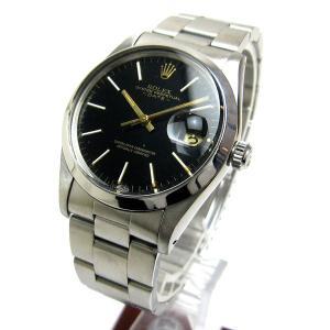 ロレックス 15000 オイスターパーペチュアルデイト 黒文字盤 メンズ 時計 ROLEX オイスターブレス仕様 保証書つき ブラック 自動巻き|leonshop