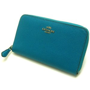 コーチ サフィアーノ ジップアラウンド ウォレット 長財布 ターコイズブルー COACH 美品 brand レディース 婦人|leonshop