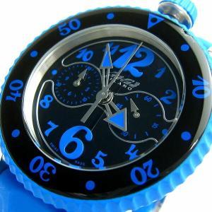 ガガミラノ 時計 スポーツクロノ ユニセックス ライトブルー 黒文字盤 7010.03 保証書 BOXつき GAGAミラノ メンズ レディース|leonshop