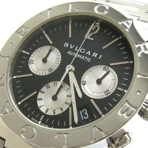 ブルガリ 時計 ブルガリブルガリ クロノグラフ メンズ オート 黒文字盤 BB38SSCH BVLGARI 磨き仕上げ済み|leonshop