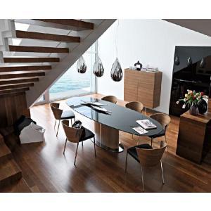 伸張式 ダイニングテーブル ガラス天板 カリガリス オデッセイ|lepice|03