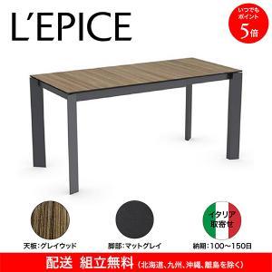 伸張式 ダイニングテーブル カリガリス バロン グレイウッド×マットグレー|lepice