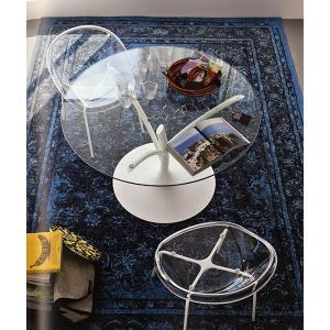 円形 ダイニングテーブル カリガリス アカシア 120cm×120cm マットホワイト×クリア|lepice|02