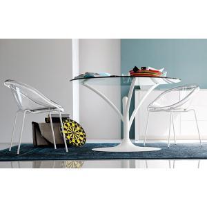 円形 ダイニングテーブル カリガリス アカシア 120cm×120cm マットホワイト×クリア|lepice|03