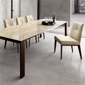 伸張式ダイニングテーブル カリガリス オムニア 160/220cm×90cm ゴール デンオニキス(セラミック)天板×ウォルナット脚 送料無料 ポイント10倍|lepice|03