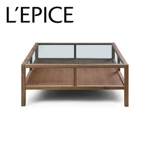 センターテーブル ガラストップ 90cm×90cm×37cm ウォルナット無垢材 セラウッド塗装|lepice