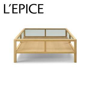 センターテーブル ガラストップ 90cm×90cm×37cm オーク無垢材 セラウッド塗装|lepice
