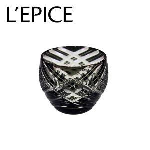 モダン切子 酒カップ 刺子クロス ブラック  切子 カットグラス 普段使い用 ギフト用|lepice