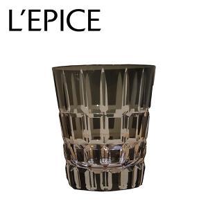 モダン切子 ロックグラス クロスストライプ ブラック|lepice