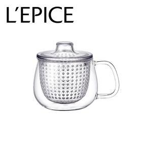 マグカップ 茶こし付き 耐熱ガラス クリア 350ml  キントー ユニマグ|lepice