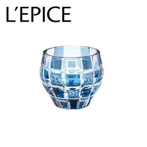 モダン切子 酒カップ 刺子市松 ブルー  切子 カットグラス 普段使い用 ギフト用|lepice