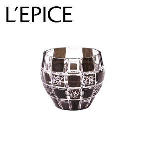 モダン切子 酒カップ 刺子市松 ブラック  切子 カットグラス 普段使い用 ギフト用|lepice