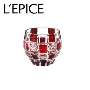 モダン切子 酒カップ 刺子市松 レッド  切子 カットグラス 普段使い用 ギフト用|lepice