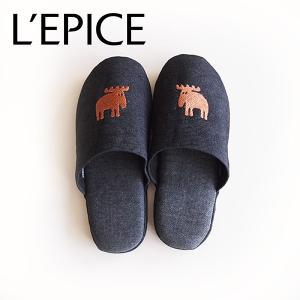 MOZ スリッパ デニムタイプ ブロンズ/ブラックデニム|lepice