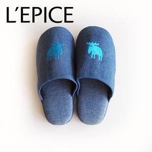 MOZ スリッパ デニムタイプ ブルー L|lepice