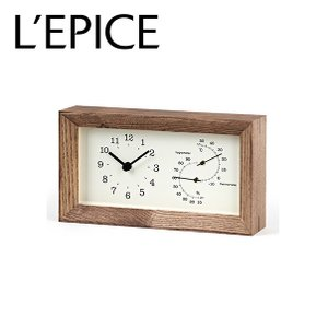 温湿度計付き 置き時計 フレーム FRAME  ブラウン LC13-14BW lepice