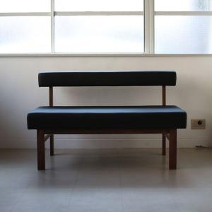 <生地ランクA/ウォルナット>木製背つきダイニングベンチ アウル | OWL dining bench || L.E.Sオリジナル    北欧 ミッドセンチュリー カフェ|les