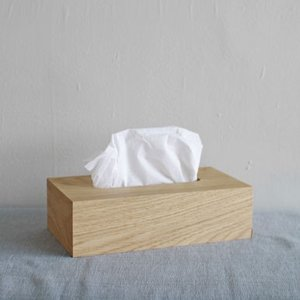 <オーク>スライド式 木製ティッシュボックス |les