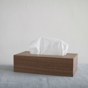 <ウォルナット>木製スライド式 ティッシュボックス |les