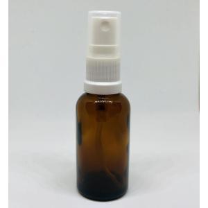 【スプレー容器瓶】30ml 茶色 ブラウン 白ノズル ポーチサイズ アロマ ガラス製 遮光 軽量 お...