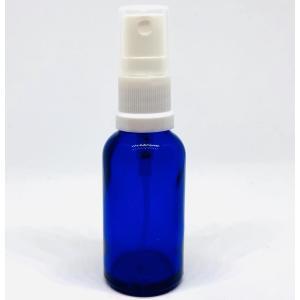 【スプレー容器瓶】30ml 青 ブルー 白ノズル ポーチサイズ アロマ ガラス製 遮光 軽量 お掃除...