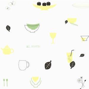 ラッピング包装紙 食器のイラスト|leun