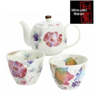 食器 ギフト 美濃焼 和藍 花つみポット茶器 和食器 和風 プレゼント|leun