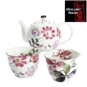 食器 ギフト 美濃焼 和藍 花さとポット茶器 和食器 和風 プレゼント|leun