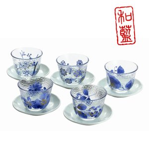 食器 ギフト 美濃焼 和藍 藍華ガラス茶托付冷茶揃 グラス ギフト|leun