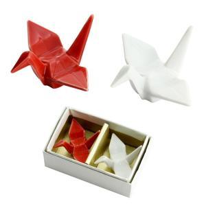 食器 ギフト 折鶴ペア箸置セット 和食器 和風 プレゼント|leun