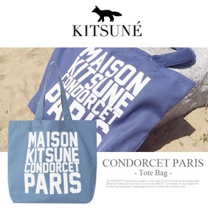 メゾン キツネ トート MAISON KITSUNE ブルー バッグ CONDORCET PARIS キャンバス トートバッグ カバン レディース フランス BULE WHITE パリ|lfs