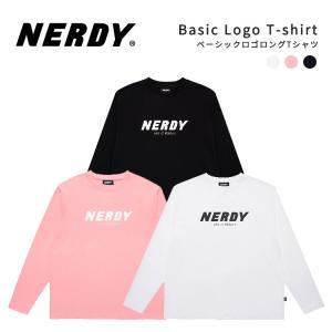 NERDY ノルディ Basic Logo T-shirt Tシャツ ロンティ ロングT カットソー 長袖Tシャツ 韓国 ZICO 原宿 メンズ レディース ユニセックス ジャージ nerdy 正規品|lfs