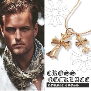 (あすつく) クロス ネックレス 二連 ゴールド ネック 十字架 ダブル ペンダント セール|lfs