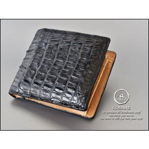 【ゴダン】GODANE カイマン クロコダイル 二つ折り財布 spcw8009cpBK|lgcnet