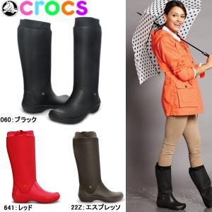 クロックス レディース 長靴 ロング レインブーツ レインフロー ブーツ crocs wellie rain floe boot w 12424 女性用|lib-ys