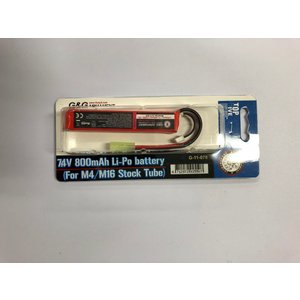 G&G  G-11-078  7.4V 800mAh Li-Po battery (For M4/M16 Stock Tubu) (リポバッテリー) (スティック)|liberator
