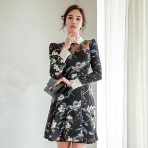 ドレス 通販 韓国 ワンピース 花柄 スリム Aライン タイト 40代 30代 20代 50代 結婚式 二次会 食事会 発表会 お呼ばれの画像