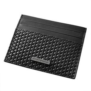 エンポリオアルマーニ EMPORIO ARMANI YEM320 YCG6J 80001 編み込みレザー カードケース 名刺入れ liberta-tokyo