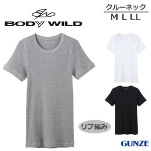 [メール便 15] GUNZE グンゼ BODY WILD ボディワイルド スタンダード トップス(リブ) クルーネックTシャツ(M・L・LL)BWJ413J [m]|liberty-h