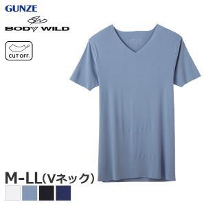GUNZE グンゼ BODY WILD ボディワイルド ファッション カットオフ VネックTシャツ(M・L・LL)BWY315J [m]|liberty-h