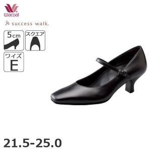 ワコール パンプス 靴 サクセスウォーク ビジネス E スクエアトゥストラップパンプス 50mmヒール 21.5 25.0cm WFN051|liberty-h