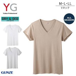 【B】グンゼ YG ドライ&デオ 年間 Vネック 半袖Tシャツ(M・L・LLサイズ)YV0115N[m_b]|liberty-h