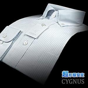 (ヤマキ)YAMAKI CYGNUS 超形態安定加工ビジネスワイシャツ(Ag fresh プラス)ストライプ ボタンダウン 40サイズ GY liberty-online