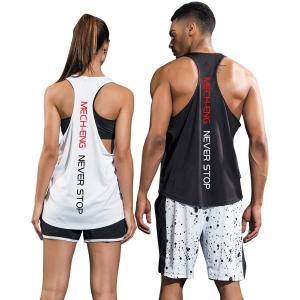 MECH-ENG(メチーエング) タンクトップ 2枚組 メンズ トレーニング ノースリーブ 筋トレ フィットネス スポーツウェア ブラック1 liberty-online